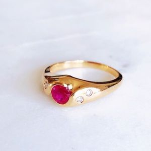 Vintage 1950s 14K Yellow Gold Ruby Diamond Ring